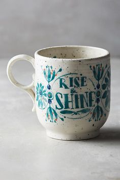 SHOP THE PIN - Rise and Shine Mug Anthropologie, cute mugs for fall unique gift ideas for her, cozy mugs home decor, coffee and tea Coffee Love, Coffee Shop, Coffee Cups, Coffee Coffee, Coffee Beans, Cute Mugs, Pretty Mugs, Cute Coffee Mugs, Funny Coffee