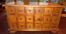 BIG WOOD APOTHECARY CABINET 18 DRAWERS PRIMITIVE SEWING JEWELRY STORAGE CHEST