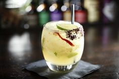 Culinary Word of the Day: Mucho Take It Easy  Need a little spice after work today? Stop by Row 14 Bistro & Wine Bar | Denver and try their cocktail, Mucho Take It Easy. It has silver tequila, fresh lime juice, muddled peppers and cucumber, Luxardo Triplum triple sec, and a hibiscus flower and smoked sea salt rim. Tart and spicy!