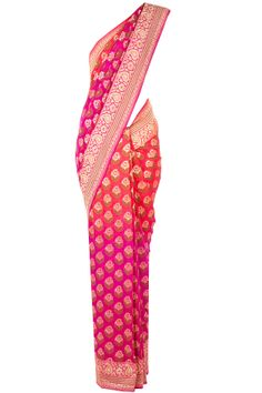 Fuschia and coral shaded banarasi sari available only at Pernia's Pop-Up Shop. Spriha: I saw this in a summerish light pink & orange color for Ginessa..