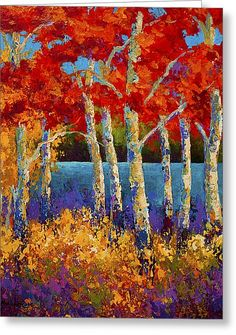 Red Birches Greeting Card by Marion Rose