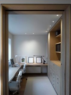 contemporary home office design. Like the layout for a long, narrow room, but wo… Sponsored Sponsored contemporary home office design. Like the layout for a long, narrow room, but would opt for more traditional looking cabinets and furniture. Home Office Space, Home Office Design, Home Office Furniture, Home Office Decor, House Design, Office Designs, Desk Space, Furniture Layout, Bar Furniture
