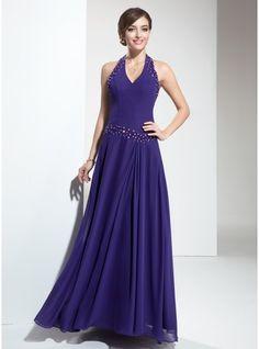 A-Line/Princess Halter Floor-Length Chiffon Bridesmaid Dress With Ruffle Beading