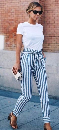summer outfits  @roressclothes Closet Ideas #women Fashion Outfit #clothing Style Apparel Striped Bottom Via 20 Outfit Ideas To Have A Striped Look For Summer Stripes Are One Of The Famous Patterns For Styling Your Outfit.