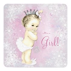 Pink Snowflake Girls Winter Wonderland Baby Shower