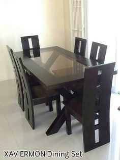 Glass Kitchen Table and Chair Set Lovely Dining Table Designs Wooden Dining Table Modern, Glass Kitchen Tables, Dinning Table Design, 6 Seater Dining Table, Diy Dining Room Table, Glass Dining Room Table, Dining Room Furniture Design, Decoration, House