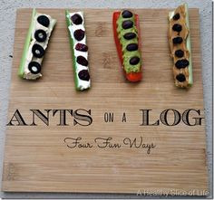 4 ideas for ants-on-a-log using Hummus, Cream Cheese, Avocado, and PB.