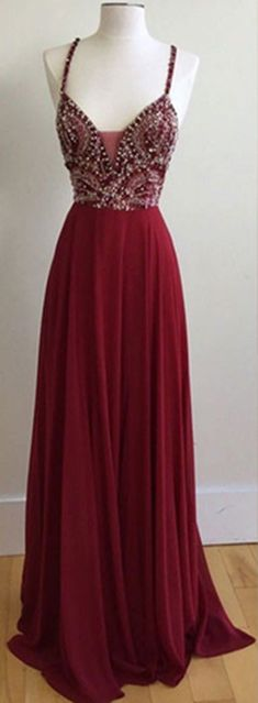 Unique Spaghetti Straps V-Neck Burgundy Long Prom Dresses with Beading