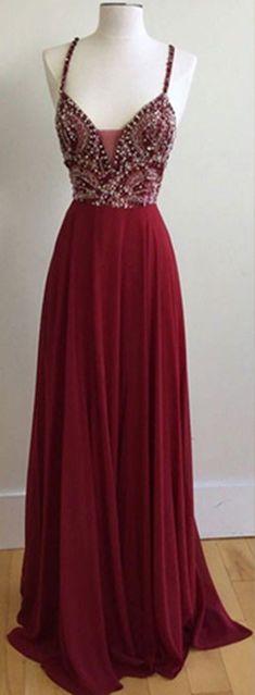 Unique Spaghetti Straps V-Neck Burgundy Long Prom Dresses with Beading
