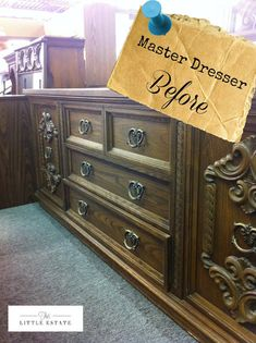 I need an ugly old dresser without mirror to use as a TV stand.  Condition unimportant!  I have plans!  See how they redid this ugly dresser into something beautiful ... This Little Estate: Master Bedroom Furniture Redo