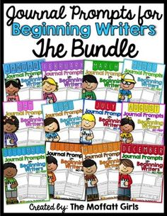 Monthly  NO PREP Journal Prompts for Beginning Writers (Th