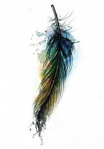 love feathers and another favorite medium to work with is watercolor
