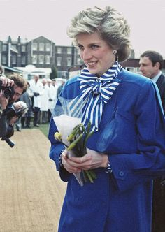 11 April 1986 Diana at the Gloucestershire County Cricket Club in Bishopston to present the Cricket Writers' Club Young Cricketer of the Year Award for the previous season