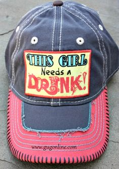 This Girl Needs a Drink Coral and Grey Baseball Cap