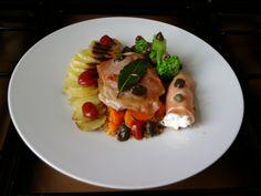 JHS  * * * /  Porc saltimbocca à romain, jambon et ricotta cannoli, la pomme de terre de sable Gino D'Aquino