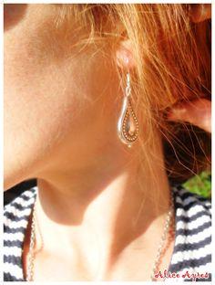 Boucles d'oreilles en métal argenté - Eva : Boucles d'oreille par alice-ayres