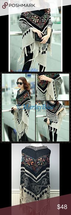 🆕Amazing Fall Poncho Black/Cream Completely in love with this poncho! Colors are black and golden creamwith a colorful floral design.  Has tassels at bottom and little sequins. Gives a little bit of dazzle but not too much so great for daytime too.  Also has armholes toward bottom of poncho.  Longer length. Price is firm. Save 20% off 2 or more items from my closet. Thanks for looking 😊 Accessories Scarves & Wraps