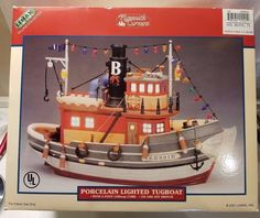 """NIB 2001 Lemax Porcelain Lighted Tugboat """"BESSIE"""" In Original Box - #15541 NEW   #Lemax #Bessie #Tugboat #2000s #Holidays #Christmas #Nautical #Porcelain"""