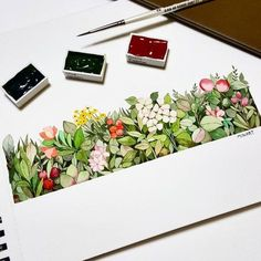 No photo description available. Watercolor Cards, Watercolor Illustration, Watercolour Painting, Watercolor Flowers, Painting & Drawing, Watercolours, Guache, Botanical Art, Art Tutorials