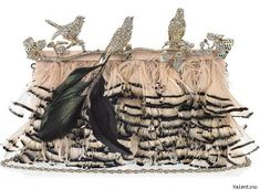 Valentino Crystal-Embellished Feather Clutch <3