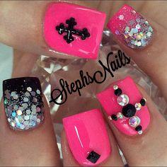 Stephanie Rochester @_stephsnails_ #pinkandblacknail...Instagram photo | Websta (Webstagram)