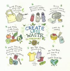Create Less Waste - illustration print Zero Waste, Reduce Waste, Vie Simple, Waste Reduction, Save Our Earth, Save The Planet, Reduce Reuse Recycle, How To Recycle, Flylady