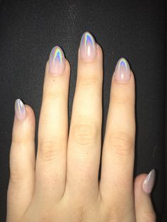 holographic ombre nails almond #almondnails