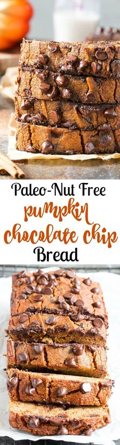 This paleo pumpkin bread is perfectly soft, tender, moist and full of sweet spices and dark chocolate chips. It's made with coconut flour, grain free, dairy free and nut free. Kid approved too and great for after school snacks and even breakfast!