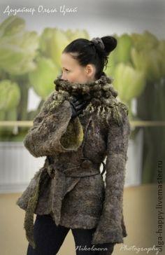 Валяный шарф-воротник Колядки. - хаки,абстрактный,шибори,шерсть кудри