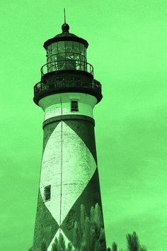 Cape Lookout Light In Green