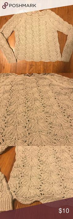 LOFT Scalloped Crochet Sweater Sea foam green crochet sweater. Super cute and in good condition. LOFT Sweaters Crew & Scoop Necks