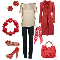 Love the purse, jacket, and shirt. :-) Shoes would be very uncomfortable