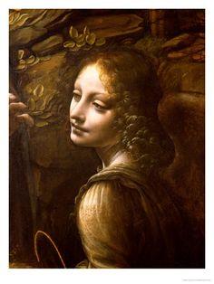 Detail of the Angel, from the Virgin of the Rocks by Leonardo da Vinci