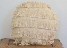 Bohemian full fringe natural cotton cushion in white 35 cm round cushion