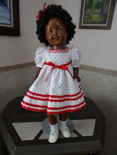 "AFRICAN AMERICAN Doll 21""Shirley Temple Mold Composition Sleepy Eyes Teeth a5"