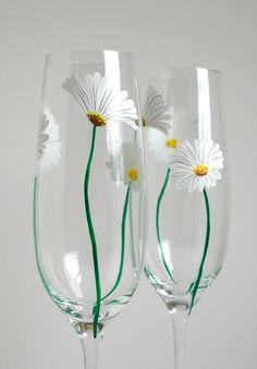 White Daisy Champagne Flutes by Mary Elizabeth Arts