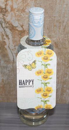 Happy Anniversary wine bottle tag by CammisCountry on Etsy, $2.20