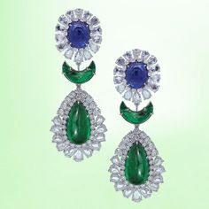 "important Emerald and Diamond Earrings by Margot McKinney   MucevherMagazin (@mm_mucevhermagazin) on Instagram: ""By @martinkatzjewels #paraibatourmaline #diamonds #necklace #aquablue #jewellery #highjewellery…"""