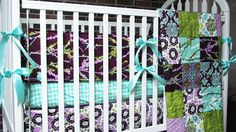 Baby Crib Bedding, 3-piece, Minky Dot crib quilt, bumper and skirt, Aviary 2 in lilac, Girl, PLUSH for baby