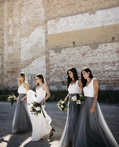 The Winslow Skirt in Soft Tulle is a floor length soft tulle circle skirt that is very slimming and creates a romantic look. Tulle Skirt Bridesmaid, Grey Bridesmaids, Grey Bridesmaid Dresses, Wedding Dresses, Sister Wedding, Wedding Stuff, Dream Wedding, Grey Tulle Skirt, Wedding Trends