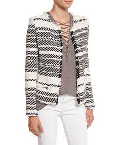 Zlata+Striped+Textured+Jacket,+Ecru/Black+by+Iro+at+Neiman+Marcus.