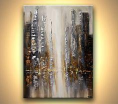Modern 40 ORIGINAL Silver City Lights Acrylic by OsnatFineArt, $700.00