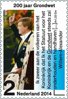 Voor deze postzegel is gebruikgemaakt van een kleurenfoto (copyright Michael Kooren/ANP Pool) van de eedaflegging door Koning Willem-Alexander op 30 april 2013. De tekst naast de foto is een letterlijk citaat uit de eed op die dag.   http://collectclub.postnl.nl/pages/detail/s1/10220000002071-2-21010000000080.aspx