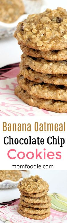 Banana Oatmeal Chocolate Chip Cookies #cookies #christmas #oatmealcookies
