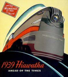 Milwaukee Road Hiawatha Train Railroad Poster 13 X 19 Art Deco photo Vintage Advertising Train Posters, Railway Posters, Art Deco Posters, Vintage Travel Posters, Vintage Advertisements, Vintage Ads, Vintage Trains, Milwaukee Road, Train Art