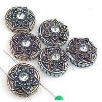 6 unique 2 hole slider beads  11024