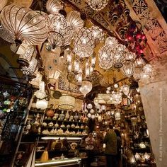 there must be thousands of hanging lamps at the Grand Bazaar ~ Istanbul, Turkey Grand Bazaar Istanbul, Turkish Lamps, Hanging Lamps, Candle Lamp, Oriental, Room Lamp, Nightlights, Antique Decor, Pretty Lights