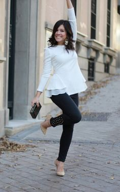 Strike a Pose // A gorgeous look by @mariapintado with those white peplum ruffled top. #LBSDaily