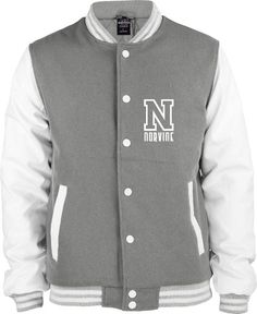 Oldschool College Jacket leather sleeves - Gray & White by Norvin
