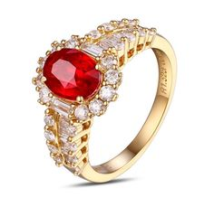 Bague femme en or jaune Rubis Diamant